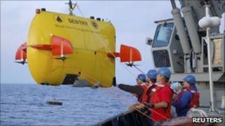 Deepsea robot being launched by oil exploration company WHOI off the California coast