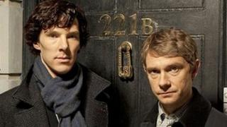 Benedict Cumberbatch and Martin Freeman as Sherlock Holmes and Watson