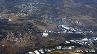 The Jewish settlements of Barkan (left), Kiryat Netafim (centre) and the Palestinian village of Khirbet Bani Hassan (top left)