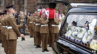 Pallbearers carrying Pte Thomas Sephton's coffin
