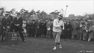 American player Leo Diegel drives from the 18th at the 1929 Ryder Cup
