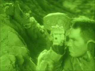 Soldiers using night vision goggles, ITT