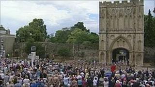 The soldiers marched through the Abbey gate