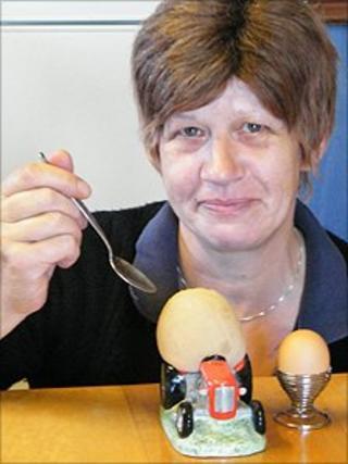 Flo Macaskill with eggs