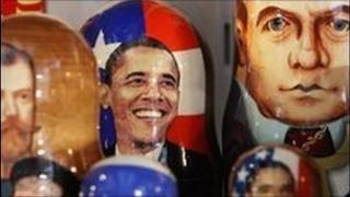 Traditional Russian nesting dolls with the images of US President Barack Obama and Russian President Dmitry Medvedev on display in Moscow