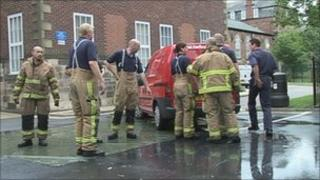 Firefighters tackle the spillage