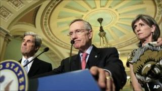 Senate majority leader Harry Reid (centre). (Image: AP)