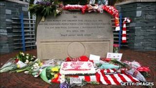 Hillsborough Disaster memorial stone at Sheffield Wednesday Football Club