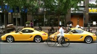 Porsche cars parked in Shanghai