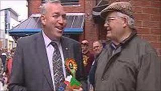 John Dixon (left) campaigning