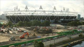 General view of the ongoing construction work at the Olympic Stadium