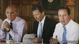 David Cameron [right] and Vince Cable [left] at recent Cabinet meeting with Cabinet Secretary Sir Gus O'Donnell