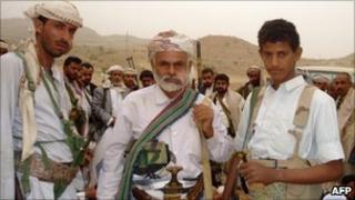 Houthi rebels in Harf Sufyan, northern Yemen, July 2010