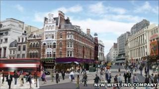 The vision includes a diagonal crossing at Tottenham Court Road