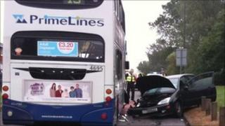 No one travelling on the bus was hurt (Pic: West Midlands Ambulance Service)