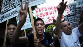 Immigrants' protest in Athens on 20 July 2010