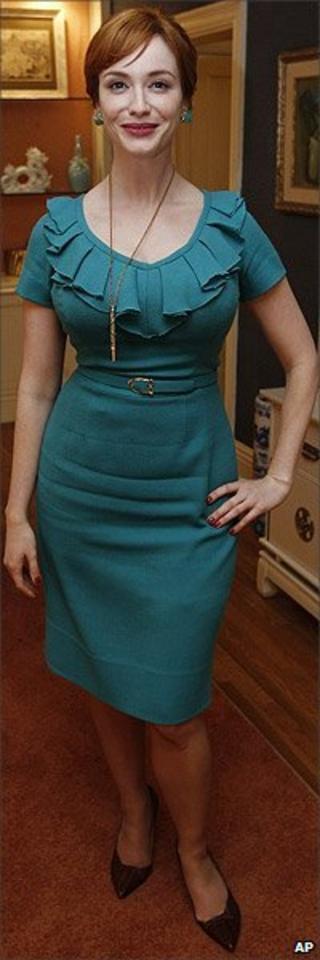 Christina Hendricks on the set of Mad Men