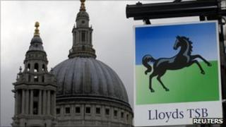 Lloyds branch sign near St Paul's Cathedral in London.