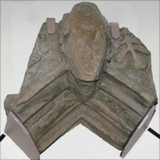 It is believed this carved head was on the keystone of an abbey window