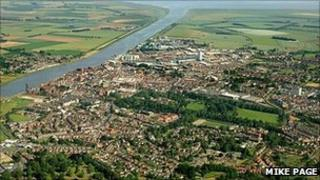 Aerial view of King's Lynn