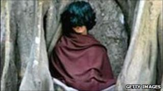 Ram Bomjan meditating in Ratanapuri village in Nepal's Bari district, file pic from 2006