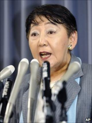 Keiko Chiba speaks at the Justice Ministry on 28 July 2010