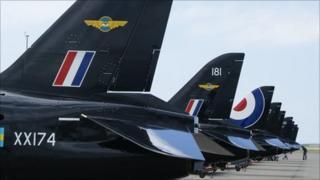 Hawk training jets at RAF Valley