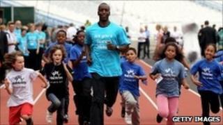 Gold-medal winner Michael Johnson running