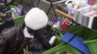Woman at car boot sale