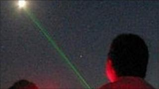 A beam from a laser pen