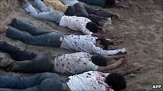 Bodies of the murdered Nepalese workers in 2004