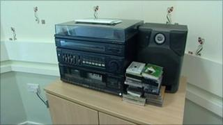 The stereo in the resident's common room at Ash Grove