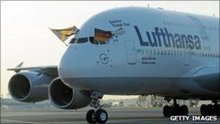 Lufthansa flight carrying the German national football team