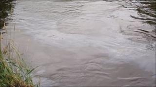 Red diesel in one of the affected rivers