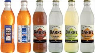 Bottles of fizzy drinks