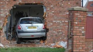The car inside the house