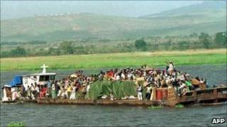 Boat on the Congo river near Kinshasa (2000 picture)
