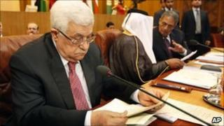 Mahmoud Abbas at the Arab ministers meeting in Cairo