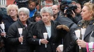 Family members of Pickton's alleged victims held a vigil after the guilty verdict in 2007