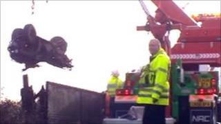 Quad bike in Cardiff fatal train collision being recovered
