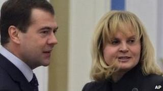 Ella Pamfilova at the Kremlin with President Dmitry Medvedev (image from April 2009)