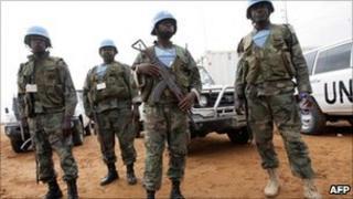 Unamid peacekeepers in Darfur