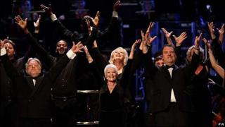 Simon Russell Beale, Dame Judi Dench and Bryn Terfel at Saturday's concert