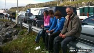 Passengers waiting at Castlebay, Barra. Photo by Anna Burnside