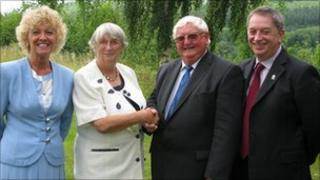 From the left: Julie James (deputy chairman), Mary Taylor (out going chair), Eric Saxon (newly elected chair) and John Cook (chief executive)