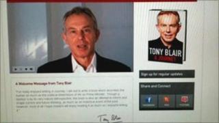 Website promoting Tony Blair's book