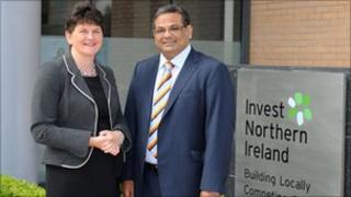 Enterprise Minister Arlene Foster and Hanif Lalani