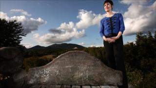 Julie McCullough and the memorial stone