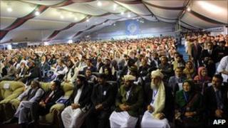 Afghan delegates attend peace jirga (June 2010)