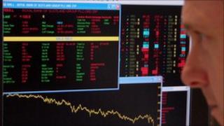 Financial trader at screen